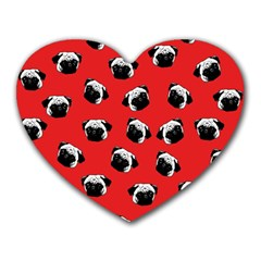 Pug dog pattern Heart Mousepads