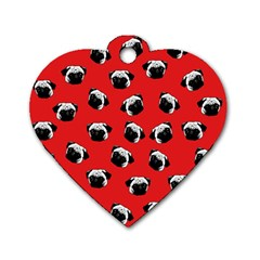 Pug dog pattern Dog Tag Heart (One Side)