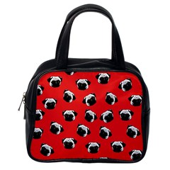 Pug dog pattern Classic Handbags (One Side)
