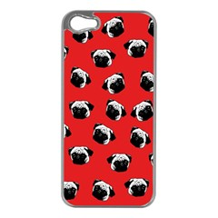 Pug dog pattern Apple iPhone 5 Case (Silver)