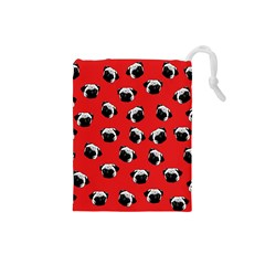 Pug dog pattern Drawstring Pouches (Small)
