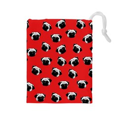 Pug dog pattern Drawstring Pouches (Large)