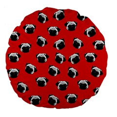 Pug dog pattern Large 18  Premium Flano Round Cushions