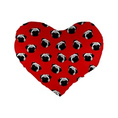Pug dog pattern Standard 16  Premium Flano Heart Shape Cushions
