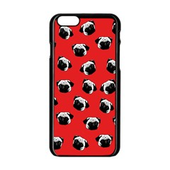 Pug dog pattern Apple iPhone 6/6S Black Enamel Case