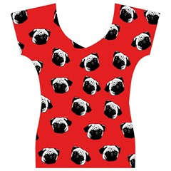 Pug dog pattern Women s V-Neck Cap Sleeve Top