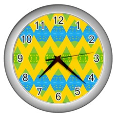 Rhombus pattern           Wall Clock (Silver)