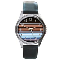 Color Screen Grinding Round Metal Watch