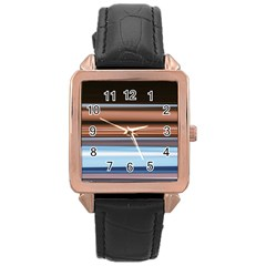 Color Screen Grinding Rose Gold Leather Watch