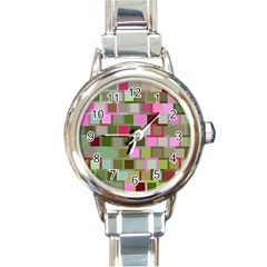 Color Square Tiles Random Effect Round Italian Charm Watch