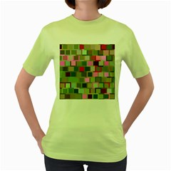 Color Square Tiles Random Effect Women s Green T Shirt