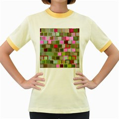 Color Square Tiles Random Effect Women s Fitted Ringer T Shirts