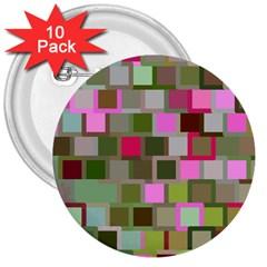 Color Square Tiles Random Effect 3  Buttons (10 pack)