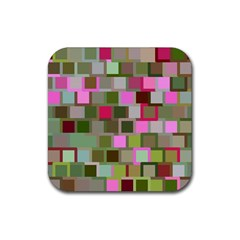 Color Square Tiles Random Effect Rubber Square Coaster (4 Pack)