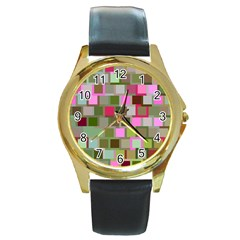 Color Square Tiles Random Effect Round Gold Metal Watch