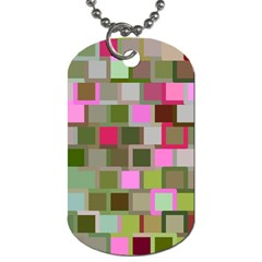 Color Square Tiles Random Effect Dog Tag (One Side)