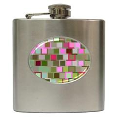 Color Square Tiles Random Effect Hip Flask (6 oz)