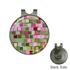 Color Square Tiles Random Effect Hat Clips With Golf Markers