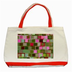 Color Square Tiles Random Effect Classic Tote Bag (Red)