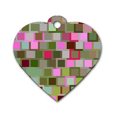 Color Square Tiles Random Effect Dog Tag Heart (two Sides)