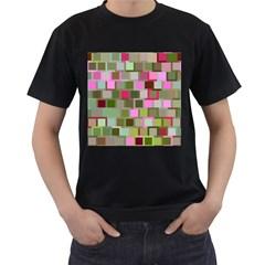 Color Square Tiles Random Effect Men s T Shirt (black)