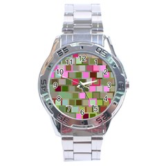 Color Square Tiles Random Effect Stainless Steel Analogue Watch