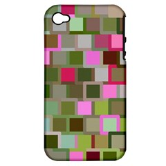 Color Square Tiles Random Effect Apple Iphone 4/4s Hardshell Case (pc+silicone)