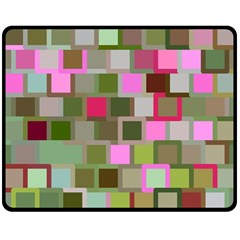 Color Square Tiles Random Effect Double Sided Fleece Blanket (medium)