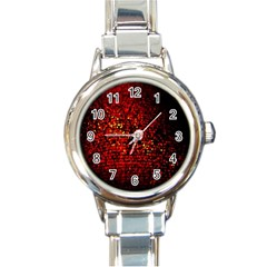 Red Particles Background Round Italian Charm Watch