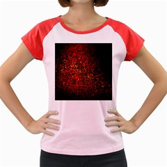 Red Particles Background Women s Cap Sleeve T Shirt