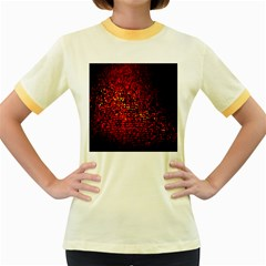 Red Particles Background Women s Fitted Ringer T-Shirts