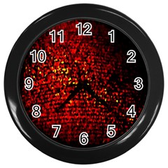 Red Particles Background Wall Clocks (Black)