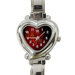 Red Particles Background Heart Italian Charm Watch