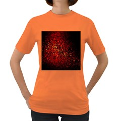 Red Particles Background Women s Dark T Shirt