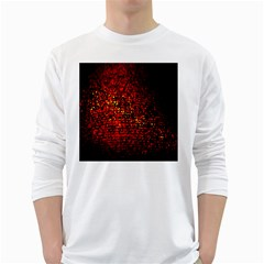 Red Particles Background White Long Sleeve T-Shirts