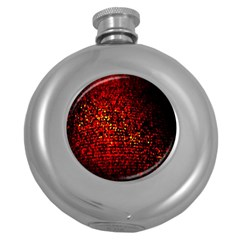 Red Particles Background Round Hip Flask (5 oz)