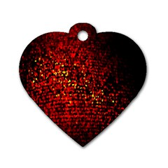 Red Particles Background Dog Tag Heart (One Side)