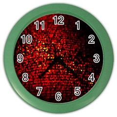 Red Particles Background Color Wall Clocks