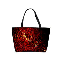 Red Particles Background Shoulder Handbags