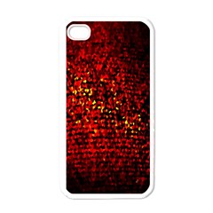 Red Particles Background Apple iPhone 4 Case (White)