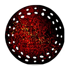 Red Particles Background Round Filigree Ornament (two Sides)