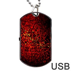 Red Particles Background Dog Tag USB Flash (One Side)