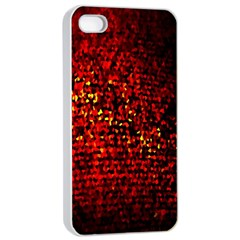 Red Particles Background Apple Iphone 4/4s Seamless Case (white)