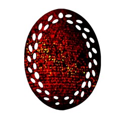 Red Particles Background Oval Filigree Ornament (two Sides)