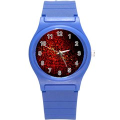Red Particles Background Round Plastic Sport Watch (s)