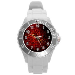 Red Particles Background Round Plastic Sport Watch (l)