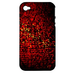 Red Particles Background Apple Iphone 4/4s Hardshell Case (pc+silicone)
