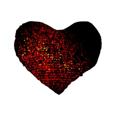 Red Particles Background Standard 16  Premium Heart Shape Cushions