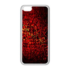 Red Particles Background Apple iPhone 5C Seamless Case (White)
