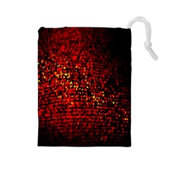 Red Particles Background Drawstring Pouches (large)